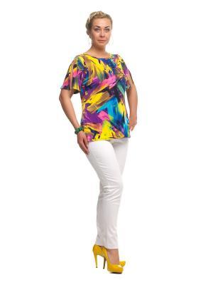 Блузка OLSI. Цвет: желтый, бирюзовый, фиолетовый
