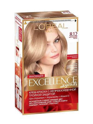 Стойкая крем-краска для волос Excellence, оттенок 8.12, Мистический блонд L'Oreal Paris. Цвет: бежевый