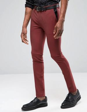 ASOS Темно-красные супероблегающие брюки под смокинг. Цвет: красный