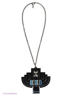 Колье by LA STRASA. Цвет: серебристый, прозрачный, синий, черный