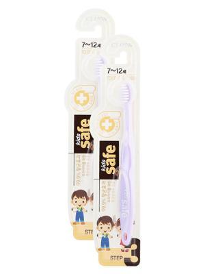 Детская зубная щетка  Kids safe toothbrush (шаг 3, 7-12 лет) сиреневая х 2шт Cj Lion. Цвет: сиреневый