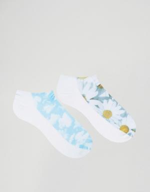 7X 2 пары носков с принтом облаков и маргариток. Цвет: мульти