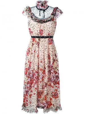 Платье с цветочным принтом Giamba. Цвет: телесный