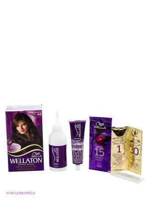 Крем-краска для волос 4/0 Темный шоколад WELLATON. Цвет: темно-коричневый