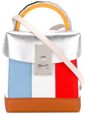 Мини сумка-тоут дизайна колор-блок The Volon. Цвет: металлический