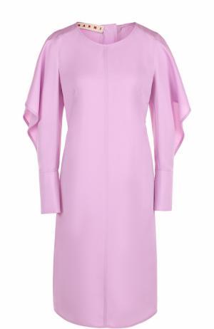 Приталенное платье-миди с разрезами на рукавах Marni. Цвет: розовый