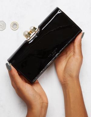Ted Baker Лакированный кошелек с отделкой из искусственного жемчуга. Цвет: черный