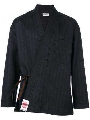 Жакет-кимоно в полоску Umit Benan. Цвет: синий