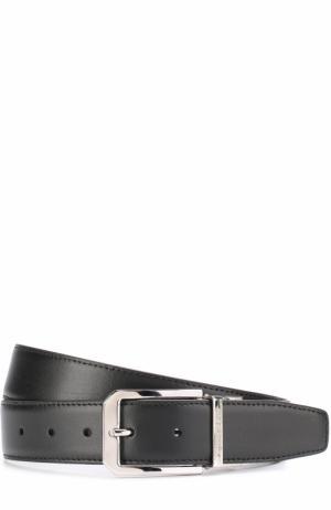 Кожаный ремень с металлической пряжкой Ermenegildo Zegna. Цвет: черно-коричневый