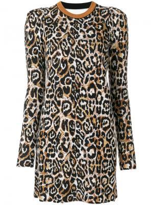 Леопардовое платье мини с длинными рукавами Nude. Цвет: многоцветный