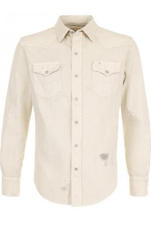 Джинсовая рубашка с декоративными потертостями Polo Ralph Lauren. Цвет: бежевый