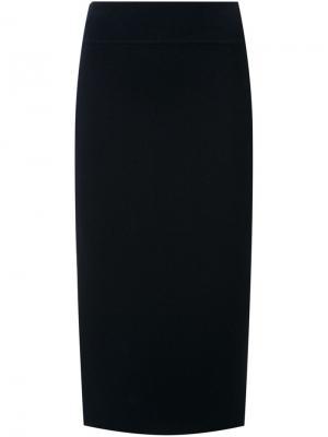Трикотажаня юбка с разрезом сзади Scanlan Theodore. Цвет: синий