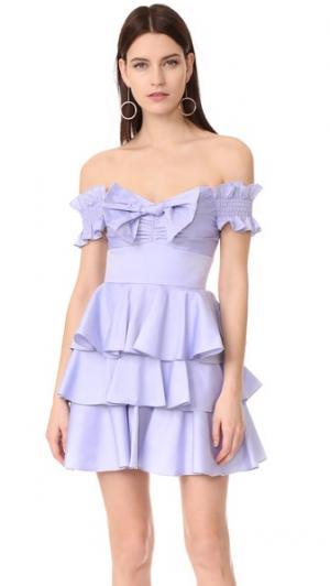 Платье Helena из ткани шамбре Caroline Constas. Цвет: голубой
