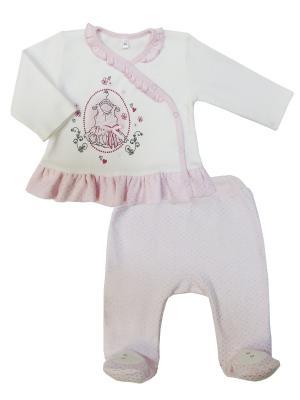 Комплект (ползунки+кофточка), Парижские каникулы Sonia kids. Цвет: молочный, розовый