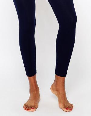 Plush Вязаные колготки на флисовой подкладке без носка. Цвет: темно-синий