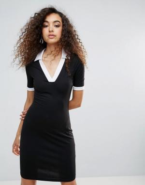 Unique 21 Платье с контрастной отделкой Unique21. Цвет: черный