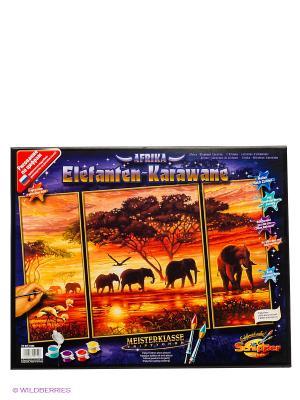Триптих для раскрашивания Африканские слоны Schipper. Цвет: черный