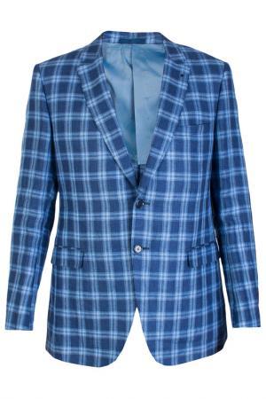 Однобортный пиджак в клеточку Smalto. Цвет: синий