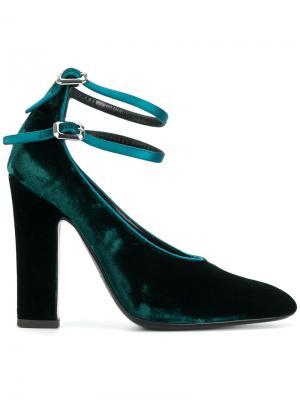Туфли-лодочки с двойным ремешком Deimille. Цвет: зелёный