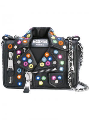 Декорированная сумка на плечо Biker Moschino. Цвет: чёрный