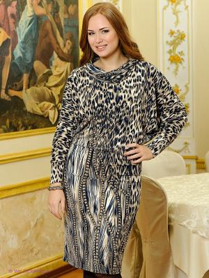 Платье МадаМ Т. Цвет: бежевый, темно-синий