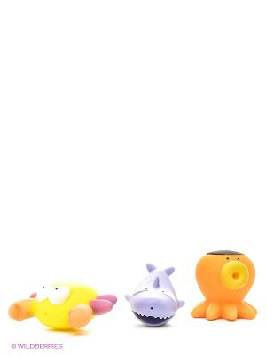 Набор игрушек для ванной Подводный мир, 3 шт Amico. Цвет: сиреневый, оранжевый