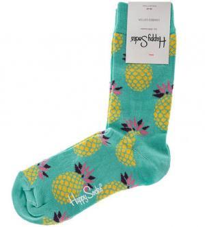Хлопковые носки мятного цвета Happy Socks. Цвет: мятный