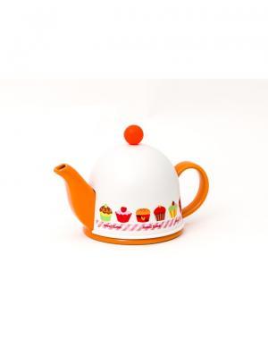 Чайник заварочный керамический ARONDO  с пластиковым утепленным колпаком и ситом 400мл GIPFEL. Цвет: оранжевый
