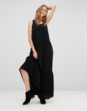 Maison Scotch Платье макси с сетчатыми вставками. Цвет: черный
