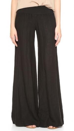 Широкие льняные брюки Enza Costa. Цвет: серый