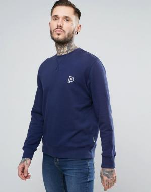 Penfield Темно-синий свитшот с круглым вырезом и буквой Р Redlands. Цвет: темно-синий