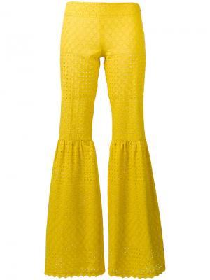 Расклешенные брюки Daizy Shely. Цвет: жёлтый и оранжевый