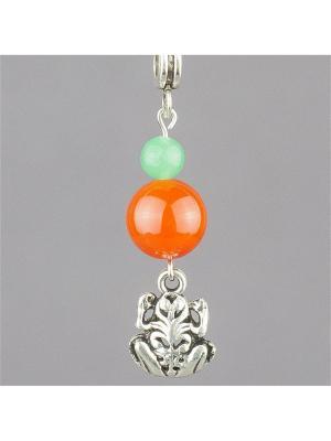 Кулон-оберег со шнурком На богатство сердолик, нефрит Колечки. Цвет: оранжевый