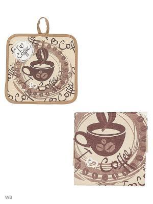 Полотенце льняное Кофе GrandStyle. Цвет: коричневый, серый