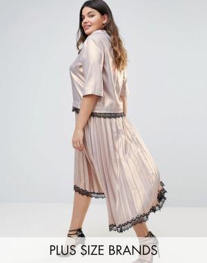 Elvi Премиум-юбка плиссе с кружевной отделкой и удлиненным краем. Цвет: розовый