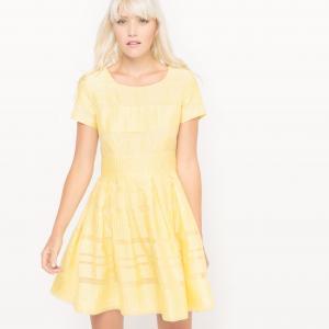Платье с короткими рукавами из вуали в полоску MADEMOISELLE R. Цвет: бледно-желтый,слоновая кость,черный