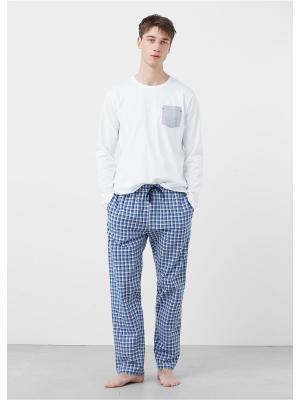Пижамный комплект  PYVEN MANGO MAN. Цвет: синий, белый