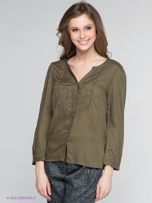 Блузка Vero moda. Цвет: темно-зеленый