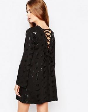 Worn By Платье с расклешенными рукавами и шнуровкой сзади Halloween Wi. Цвет: черный