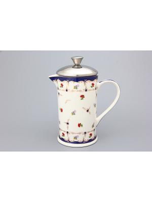 Чайник с поршнем Цветочек Elan Gallery. Цвет: белый, синий, красный