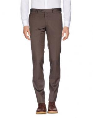 Повседневные брюки LUIGI BORRELLI NAPOLI. Цвет: темно-коричневый