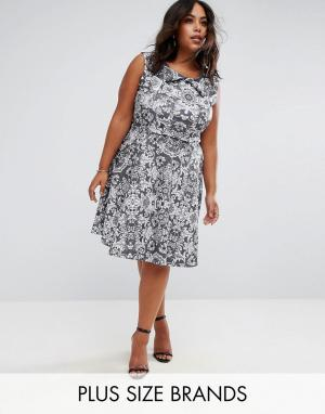 Praslin Короткое приталенное платье с кружевным принтом. Цвет: черный