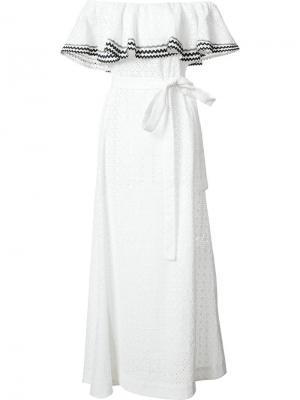 Платье с поясом и открытыми плечами Lisa Marie Fernandez. Цвет: белый