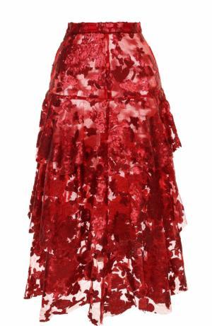 Многоярусная юбка-миди с пайетками Rodarte. Цвет: красный