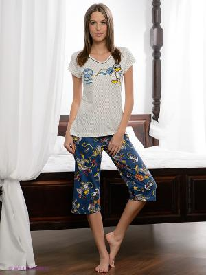 Пижама Vienetta Secret. Цвет: синий, молочный