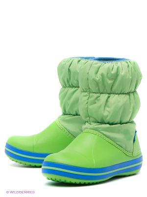 Дутики CROCS. Цвет: зеленый, голубой