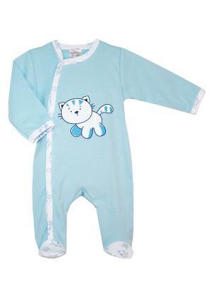 Комбинезон нательный для малыша КОТМАРКОТ. Цвет: голубой, белый