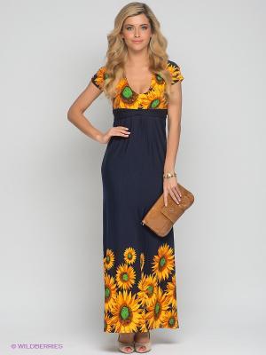 Платье МадаМ Т. Цвет: темно-синий, желтый