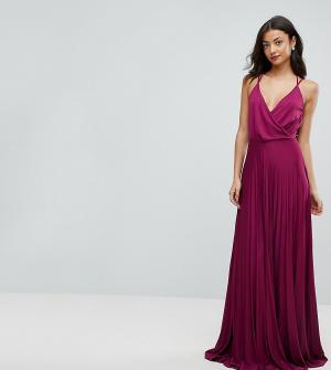 ASOS Tall Платье макси с запахом и плиссированной юбкой. Цвет: фиолетовый