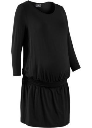 Мода для беременных: трикотажное платье с функцией кормления (черный) bonprix. Цвет: черный